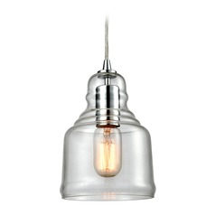 Elk Lighting Menlow Park Polished Chrome Mini-Pendant Light with Bowl / Dome Shade