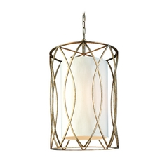 Pendant Light with White Shades in Silver Gold Finish