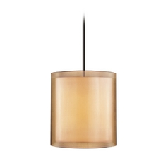 Modern Pendant Light with Brown Shades in Black Brass Finish