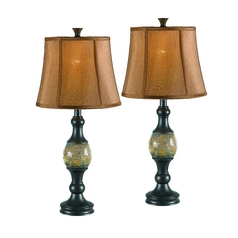 Table Lamp Set with Copper Shade in Bronze Finish