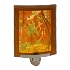 Fall Foliage Night Light with Art Glass Porcelain Shade