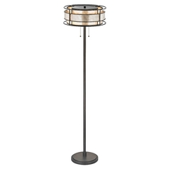 Floor Lamp with Beige / Cream Mica Shades in Tiffany Bronze Finish