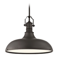 Farmhouse Bronze Metal Pendant Light 18.38-Inch Wide