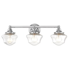 Clear Glass Schoolhouse Bathroom Light Chrome 3 Light 23.125 Inch Length