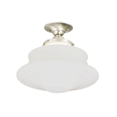 Schoolhouse Semi-Flushmount Light with White Glass in Satin Nickel Finish