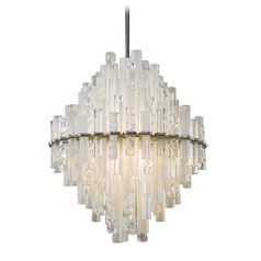 Modern Art Deco LED Pendant Light Satin Silver Leaf Manhattan by Corbett Lighting