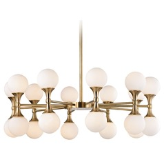 Mid-Century Modern LED Chandelier Brass Astoria by Hudson Valley Lighting