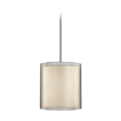 Modern Pendant Light with Silver Shades in Satin Nickel Finish