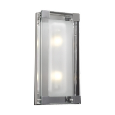 Modern Sconce Wall Light with Clear Glass in Polished Chrome Finish