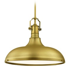 Large Brass Metal Pendant Light 18.38-Inch Wide