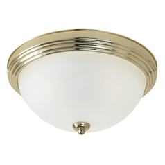 Flushmount Light with Beige / Cream Glass in Polished Brass Finish