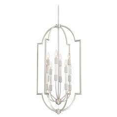 Transitional Pendant Light Brushed Nickel Chapel by Quoizel Lighting
