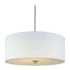 Design Classics Modern Drum Pendant Light with White Shade in Satin Nickel Finish  DCL 6528-09 SH7566 KIT