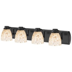 4-Light Mosaic Glass Bathroom Light in Bronze
