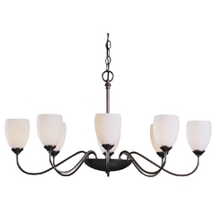 Chandelier with White Glass in Dark Smoke Finish