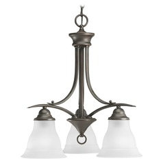 Progress Chandelier with White Glass in Antique Bronze Finish