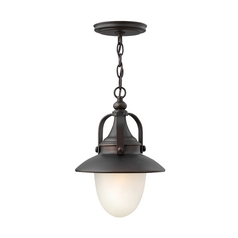 LED Outdoor Hanging Light with White Glass in Spanish Bronze Finish