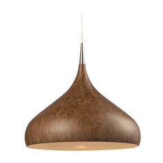 Modern Pendant Light with Brown Shade in Satin Nickel Finish