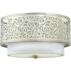 Quoizel Lighting Modern Flushmount Light with White Glass in Brushed Nickel Finish JS1615BN