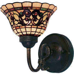 Sconce with Tiffany Glass in Vintage Antique Finish