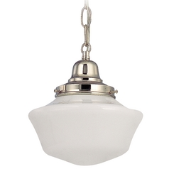 8-Inch Schoolhouse Mini-Pendant Light in Polished Nickel with Chain