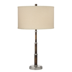 Table Lamp in Satin Nickel / Bronze Finish and White Drum Shade