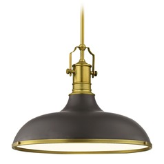 Farmhouse Large Pendant Light Bronze / Brass 18.38-Inch Wide