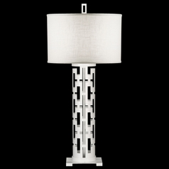 Fine Art Lamps Black + White Story White Satin Lacquer Table Lamp with Drum Shade