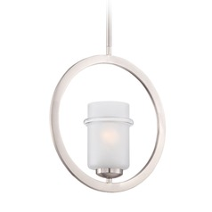 Designers Fountain Omega Satin Platinum Mini-Pendant Light with Cylindrical Shade