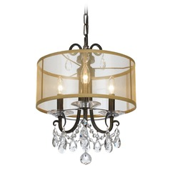 Crystorama Lighting Othello English Bronze Pendant Light with Drum Shade