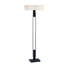 Modern Torchiere Lamp with White Shades in Satin Nickel W/black Finish