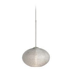 Modern Pendant Light with Silver Glass in Satin Nickel Finish