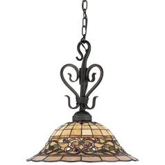 Pendant Light with Multi-Color Glass in Vintage Antique Finish