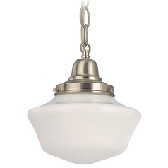 Design Classics Lighting 8-Inch Period Lighting Schoolhouse Mini-Pendant Light in Satin Nickel FB4-09 / GA8 / B-09
