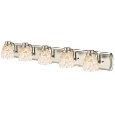 5-Light Mosaic Glass Bathroom Light in Satin Nickel
