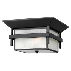 Etched Seeded Glass Close To Ceiling Light Black Hinkley Lighting