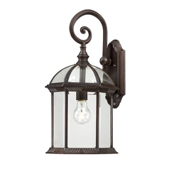 Outdoor Wall Light with Clear Glass in Rustic Bronze Finish