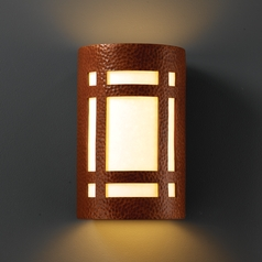 Sconce Wall Light with White in Hammered Copper Finish