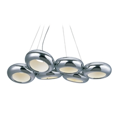 Donuts Polished Chrome LED Multi-Light Pendant with Oval Shade