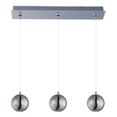 Polaris Polished Chrome LED Multi-Light Pendant with Globe Shade