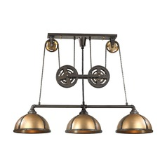 Farmhouse Island Light Vintage Rust, Vintage Brass Torque by Elk Lighting