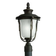 Kichler Post Light with White Glass in Rubbed Bronze Finish