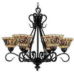 Chandelier with Tiffany Glass in Vintage Antique Finish
