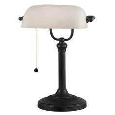 Piano / Banker Lamp with Beige / Cream Glass in Oil Rubbed Bronze Finish