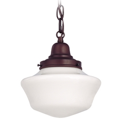 8-Inch Schoolhouse Mini-Pendant Light in Bronze with Chain