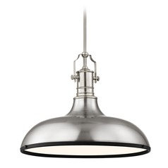 Farmhouse Metal Pendant Light Satin Nickel and Black 18.38-Inch Wide