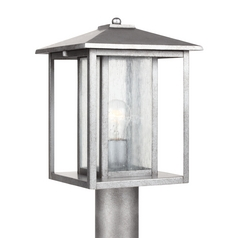 Post Light with Clear Glass in Weathered Pewter Finish