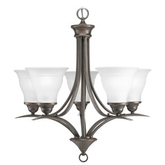 Progress Lighting Progress Chandelier with White Glass in Antique Bronze Finish P4328-20