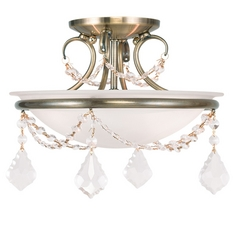 Livex Lighting Chesterfield/pennington Antique Brass Semi-Flushmount Light