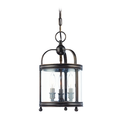 Mini-Pendant Light with Clear Glass in Distressed Bronze Finish